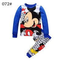 Baby Toddler kids boys Long Sleeve Sleepwear Mickey Blue Pajamas set  Size 2-7T