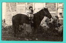 LATVIA LETTLAND WOMAN Kid AND HORSE VINTAGE PHOTO POSTCARD 376