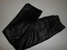 GK GENUINE LEATHER TROUSERS UK-12 BLACK BUTTER SOFT MADE IN UK / NEVER USED