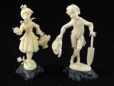 Vintage Plastic Boy and Girl Figurines made in Italy