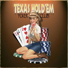 """Ralph Burch Texas Hold'Em Cowgirl Poker Club Pin-up Girl 9"""" Vintaged Metal Sign"""