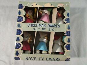 Vintage Shiny-Brite Set of 6 Christmas Dwarfs #8651