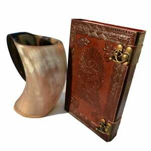 Personalised Handmade Leather Journal Diary Notebook Game Of Thrones With Mug