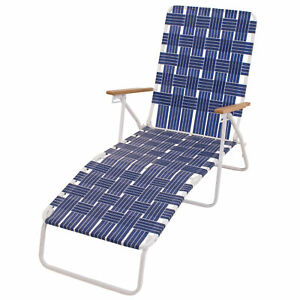 RIO Brands Steel Folding Web Chaise Beach Lawn Pool Lounge Chair, Blue(Open Box)