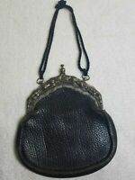 Gorgeous antique Leather Silver Clutch Ornate Purse