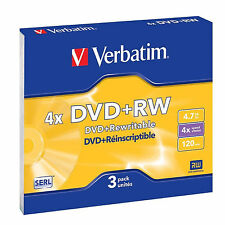 3 PK VERBATIM DVD+RW DVDRW 4x SPEED 4.7GB REWRITABLE BLANK DVD DISCS