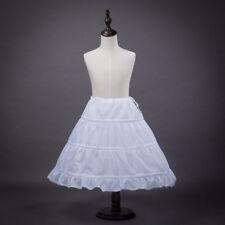 Kids Petticoat 3-Hoop Flower Girl Wedding Party Underskirt Dress Crinoline White