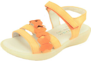 "DE OSU - Girls ""Tiger"" Orange Leather Butterfly Sandals - European 25 Size 8"