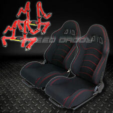 2 X UNIVERSAL TYPE-F1 BLACK WOVEN RACING SEATS+SLIDER+4-POINT HARNESS RED BELTS