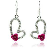 Precioso Plata Tono Rose Cristal pendientes del corazón