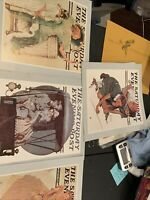 Set of 4 1983 Saturday Evening Post Norman Rockwell Prints SEPCO See Photos