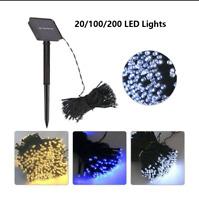 20-200 LED fée solaire guirlande lumineuse alimenté lampe jardin extérieur D1