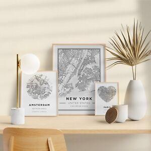 Custom Map Prints Any Location Poster Digital Art City Town Island Home Travel