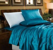 Chezmoi Collection 4-Piece Solid Teal Bridal Satin Sheet Set