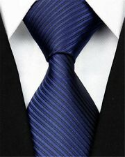 GIFTS FOR MEN Classic Mens Plain Fine Stripe Silk Necktie Tie Dark Navy Blue