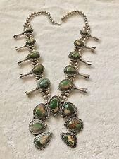 "Vintage Navajo Squash Blossom Silver Necklace Turquoise Gorgeous 270 Grams 28"""