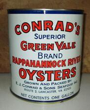RARE VINTAGE CONRAD'S GREEN VALE OYSTER GALLON TIN CAN VERY GOOD CONDITION