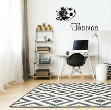 BOYS Personalised NAME Wall Stickers Football Art BEDROOM STICKER Home Decor
