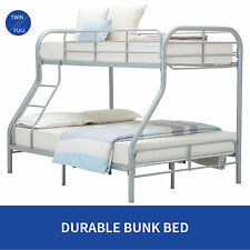 Metal Twin over Full Bunk Beds Kids Teens Dorm Bedroom Sliver Furniture w/Ladder