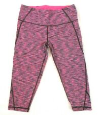 VSX Sport Capri Leggings Stretch Pink Gray Sz M Pull On Workout Yoga Women CBA5