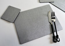 Set of 8 Artisan Silver Bonded Leather Placemats and 8 Coasters Made in UK 16