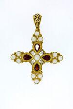 375er G-Gold Kreuz Antik mit Perlen+Jegdalek Größe 4,5x3,5 cm Gewicht 5,1 Gramm