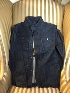 NWT 7 For All Mankind Boys Sz L Denim Jacket Full Zip coated anorak