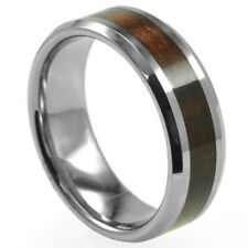 SZ 7-15 Men Stainless Steel 8MM Ring Band Red Wood Inlay Wedding Birthday Gift