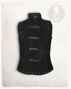 Mittelalterlich Dick Gepolstert Schwarz Gambeson Mantel Aketon Jacke Rüstung