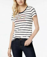 NWT TOMMY HILFIGER American Dreamer Navy Blue White Striped Spell-Out T-Shirt XL