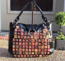 Designer Inspired Multi Color Via By Vieta Faux Leather Handbag Large Black