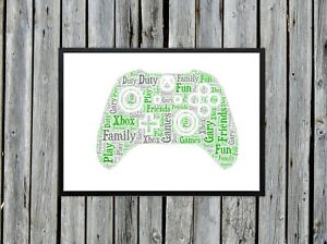 Personalised A4 Word Art Xbox Controller Kids Gift Photo Picture Print Image