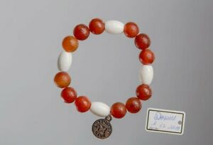 Red Coral Agate Bracelet with Butterfly Charm and White Beads Jewelry