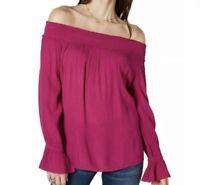 SIZE Medium M INC Smocked Off Shoulder Crinkle Boho Peasant Top Blouse Shirt NWT