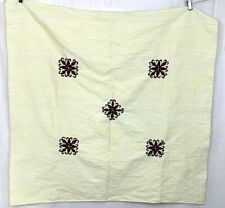 Vintage Square Throw Tapestry Embroidered Yellow Red Green Decoration Ethnic
