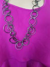 DAISY FUENTES Gun Metal Black Silver Tone Circle Link Long Fashion Necklace