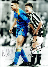 Paul Gascoigne & Vinnie JONES Dual Signed Autograph 16x12 Iconic Photo AFTAL COA