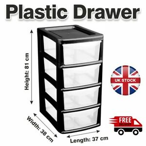 4 Tier Plastic Drawers Storage Office Home Tower Chest Drawer School Uni