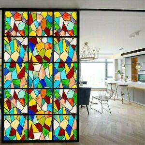 Window Film Light Filter Church Chapel Stained Cling Glass Sticker Self-adhesive