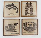 Set+of+4+Clarence+Wells+Ceramic+Tile+Coasters+Northwest+Canadian+Native+Artist