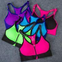 Women Yoga Sport Bra Front Zip Crop Top Vest Racerback Lady Gym Padded Bra S/M/L
