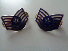 (a37-1371) US AIR FORCE METAL collar Rank Insignia Technical sergente e-6 pair
