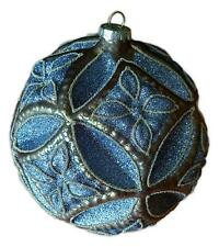 "Blue & Gold Large Glittery Glass Ball Christmas Ornament, 6"" Diameter, by Ganz"