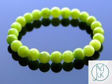 Olive Green Mashan Jade Gemstone Bracelet 7-8'' Elasticated Healing Stone Chakra