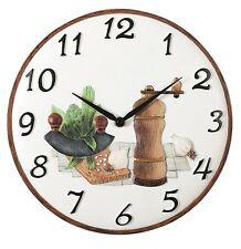 """Pendule murale ronde de cuisine - thème """"aromates"""" Ø 30 cm - ATLANTA 6103 Neuve"""