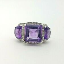 Signed Y 925 Sterling Silver 3 Purple Amethyst & White Topaz Ring Size 5