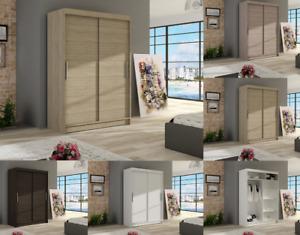 """New Modern Wardrobe """"VEGAS 1"""" Sliding Doors Hanging Rail Shelve 5 Colours 120 cm"""