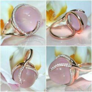 Gorgeous Women Pink Moonstone Gemstone Ring 18K Rose Gold Filled Wedding Sz 6-10