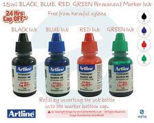 More details for artline 15ml refill black blue red green permanent marker ink bottle xylene-free