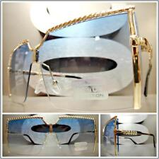 OVERSIZED RETRO Flat SHIELD Style SUN GLASSES Gold Metal Frame Blue & Clear Lens